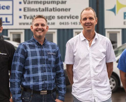 Andreas Byrlén, Andreas Johansson, Joakim Leijon och Rickard Olsson utanför lokalerna på Fabriksvägen i Klippan.
