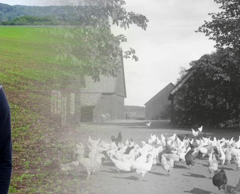 Vänster: Havgård 2019. En prisad Gustaf Aldén ute på sina fält. Höger: Havgård 1926. Patron Daniel Sonesson ute på gården med bland hönsen. (Foto: Blomgrens Arkiv)